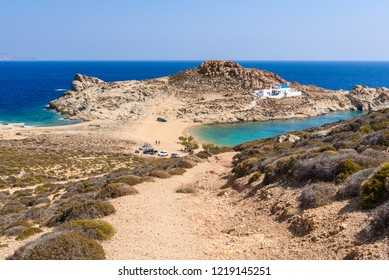 Agios Sostis beach, a tranquil beach in the eastern part of Serifos. Cyclades, Greece