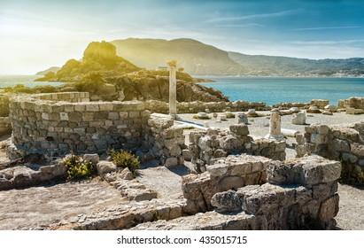 Agios Stefanos archaeological site in Kefalos,Kos Island,Greece,focus on the column