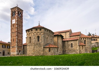 Agliate - Carate Brianza (Italy) - Romanesque Basilica of Saints Peter and Paul and adjacent Baptistery, built shortly after the year 1000.