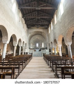 AGLIATE, ITALY - FEBRUARY 22, 2014: interior of the church of Saints Peter and Paul in Agliate on February 22th 2014. This church was built in 10th century.