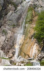 Agnanta waterfall at Tzoumerka of Epirus, Pindos mountains in Greece