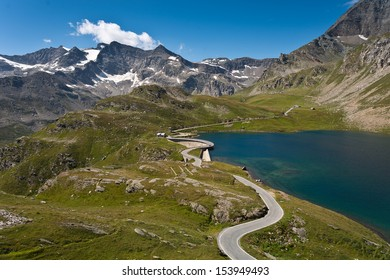 Agnel Lake and the road over the dam in the Gran Paradiso National Park - Piedmont - Ceresole Reale