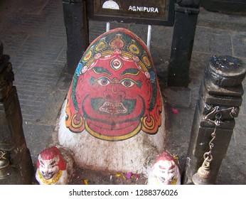 Agnipura (Personification of the Fire Element) at Swayambhunath, Kathmandu, Nepal on December 1, 2014.