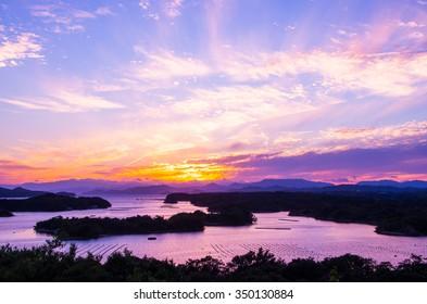 Ago bay silhouette sunsetsky,mie tourism of japan