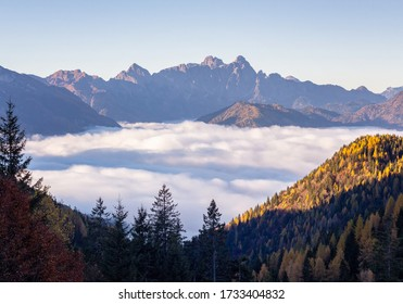 The Agordina valley under the clouds