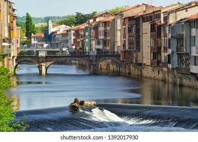 Agout river in Castres showing the old tanners' houses on the bank