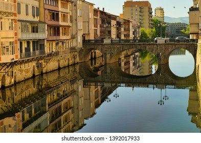 Agout River in castres showing the old tanners' house and a medieval bridge