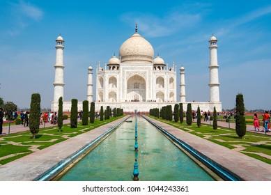 AGRA - FEB 28: Taj Mahal complex in Agra on February 28. 2018 in India
