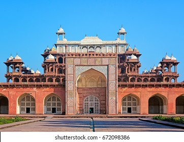 AGRA - February 10, 2017: The entrance of the famous Akbar Mausoleum. Akbar was one of the greatest emperors in the history of India, in Agra, India