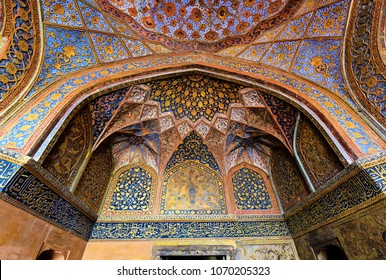 AGRA - February 10, 2017: Intricate tomb ceiling details at famous Akbar Mausoleum in Agra, India