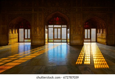 Agra Fort in Agra, India – Ornately decorated room inside the Agra Fort designed and built by the great Mughal ruler Akbar, in about 1565 A.D.