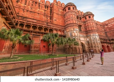 Agra Fort also known as the Red Fort Agra is built with red sandstone and marble built in the year 1638 by the Mughal dynasty. View of the Akbar gateway of Agra Fort.
