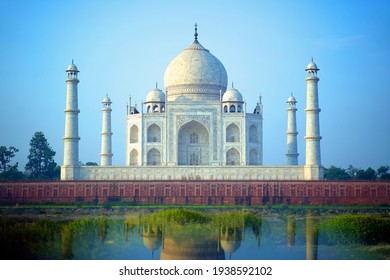 Agra, india - 18 March 2021: Taj Mahal a monument of love in Clear Blue Sky