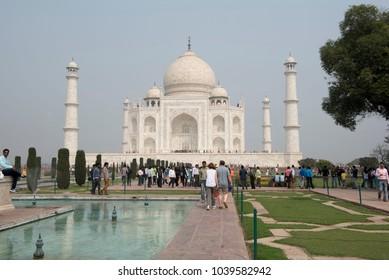 Agra / India 25 February 2018 Tourists at the Taj Mahal a UNESCO world heritage site at Agra  Uttar Pradesh  India