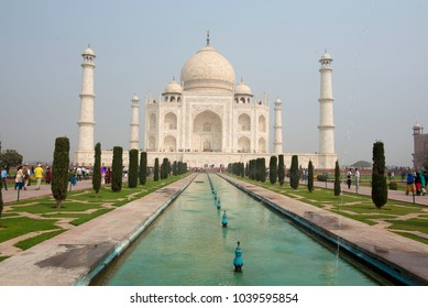 Agra / India 25 February 2018 The Taj Mahal is an ivory white marble mausoleum It was commissioned in 1632 by the Mughal emperor Shah Jahan at Agra  Uttar Pradesh  India