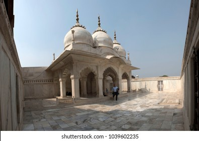 Agra / India 25 February 2018 Panoramic View of Nagina Masjid ( Mosque) is a masjid in Agra Fort built by Shah Jahan  It is also known as the Gem Mosque or the Jewel Mosque in Uttar Pradesh  India