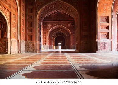 AGRA, INDIA - 29, DECEMBER 2012: Inside of the Mosque in Taj Mahal complex