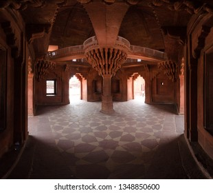 AGRA, INDIA - 5 May 2015: fisheye view  of the Audience Hall (Diwan-i-Khas) of Fatehpur Sikri Palace near Agra, India. The preserved royal palace has been the location of many films and documentaries.