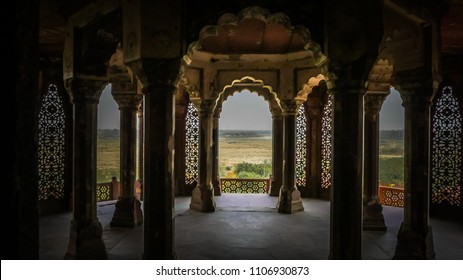 Agra / India - April 14 2017: White marble interior rooms at palaces inside Agra Fort fortress UNESCO heritage site in Agra,  Uttar Pradesh, India.