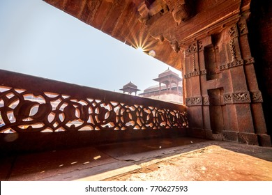 Agra India Asia - November 6 2014 - Fatehpur Sikri is a town in the Agra District of Uttar Pradesh, India. The city was founded in the year 1569 by the Mughal Emperor Akbar the Great