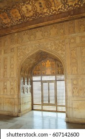 AGRA, INDIA - CIRCA NOVEMBER 2012: Interior of palace in Red Fort