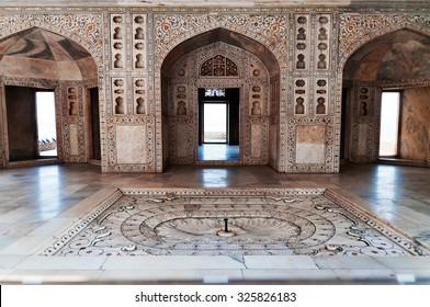 AGRA, INDIA - DEC 16, 2014: Interior of the Musamman Burj in Red Agra Fort. Agra, Uttar Pradesh, India