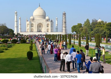 AGRA, INDIA - February 11, 2017: Indians visiting Taj Mahal could be capped at 40,000 a day.
