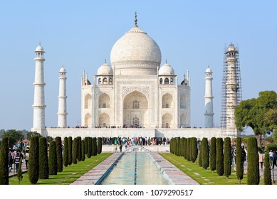AGRA, INDIA - February 11, 2017: The majestic front view of Taj Mahal in India.
