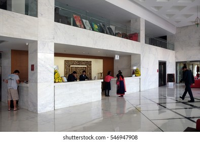 AGRA, INDIA - FEBRUARY 14: Modern hotel lobby in Four Points by Sheraton Agra, Uttar Pradesh, India on February 14, 2016.