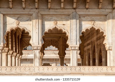 AGRA, INDIA - FEBRUARY 5, 2011: Architectural detail at Agra Fort, which was completed in 1573 and served as the main residence of the Mughal dynasty until 1638. It is a UNESCO World Heritage site.