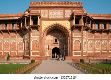 AGRA, INDIA - FEBRUARY 5, 2011: Jahangir Palace at Agra Fort, which was completed in 1573 and served as the main residence of the Mughal dynasty until 1638. It is a UNESCO World Heritage site.