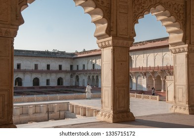 AGRA, INDIA - FEBRUARY 5, 2011: Tourist at Agra Fort, which was completed in 1573 and served as the main residence of the Mughal dynasty until 1638. It is a UNESCO World Heritage site.