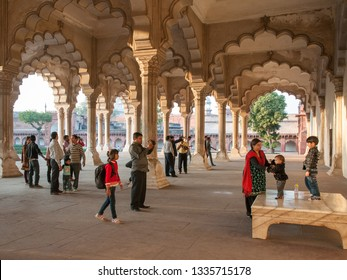 AGRA, INDIA - FEBRUARY 5, 2011: Diwan-i-Am, the Hall of Audience at Agra Fort, which was completed in 1573 and served as the main residence of the Mughal dynasty until 1638.