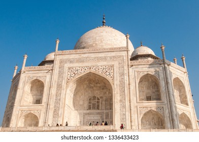 AGRA, INDIA - FEBRUARY 6, 2011: Taj Mahal in Agra. Taj Mahal is a tomb for Mughal emperor Shah Jahans wife Mumtaz Mahal. It is the best example of Mughal architecture and a UNESCO World Heritage site.