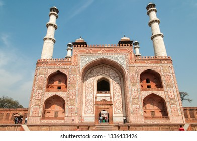 AGRA, INDIA - FEBRUARY 6, 2011: Akbars tomb in Sikandra outside Agra. It was completed in 1613. Akbar also known as Akbar the Great is the most famous of the Mughal emperors.