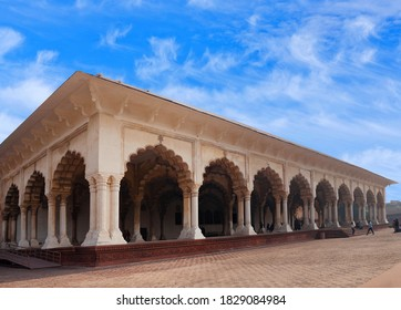AGRA, INDIA - JANUARY 2, 2020: Diwan-i-Am, Hall of Public Audience in Red Fort of Agra. It was the main residence of the emperors of the Mughal Dynasty until 1638.