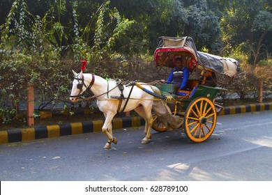 Agra, India - January 23, 2017: A guy on the work in very colorful tonga, on the road in Agra.