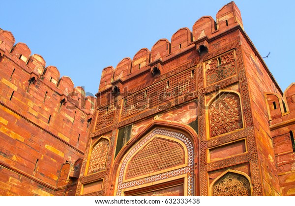 AGRA, INDIA - JANUARY 23, 2017. Arga Red Fort. Red Fort is one of the biggest tourist highlights in Arga.
