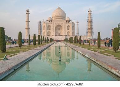 Agra, India, January 7, 2016. Taj Mahal with groups of tourists