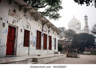 AGRA, INDIA - JANUARY 8, 2015: Building near Taj Mahal Palace  on January 8, 2015 in Agra, India