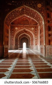 Agra, India - January 9m 2012: Inside of Mosque in Taj Mahal complex
