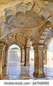AGRA, INDIA - JNovember 7: Interior of Nagina Masjid (Gem Mosque) in Agra Fort on November 7, 2014 in Agra, Uttar Pradesh, India. It was build in 1635 and made entirely of marble