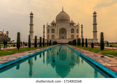 AGRA, INDIA - Mar 01, 2020: An early morning view towards the Taj Mahal in Agra, India