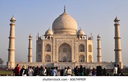 Agra, India - Mar 10, 2012. People visit the Taj Mahal in Agra, India. The Taj Mahal built in Agra between 1631 and 1648 by order of the Mughal emperor Shah Jahan.