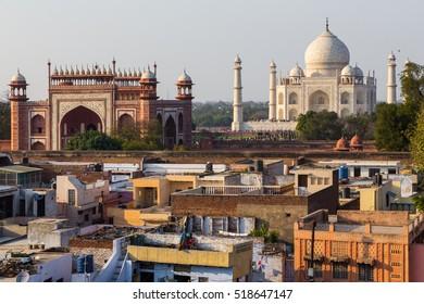 Agra, India - Mar 7, 2015: Taj Mahal and outlying buildings