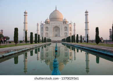 Agra, India - March 20, 2018 : Beautiful Taj Mahal, One of the new Seven  Wonders of the World