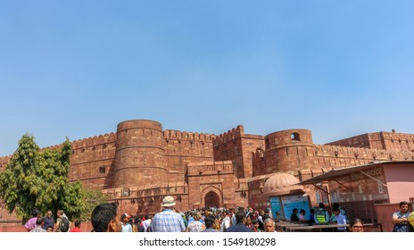 AGRA, INDIA - MARCH 7, 2019: Agra Fort is a historical fort in the city of Agra in India. It was the main residence of the emperors of the Mughal Dynasty.