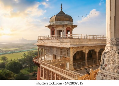 Agra, India, May 28,2019: Agra Fort - Medieval Indian fort made of red sandstone and marble with view of dome at sunrise at Agra, India