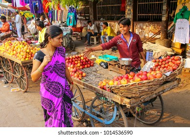 AGRA, INDIA - NOVEMBER 10: Unidentified people shop at Kinari Bazaar on November 10, 2014 in Agra, India. Agra is one of the most populous cities in Uttar Pradesh