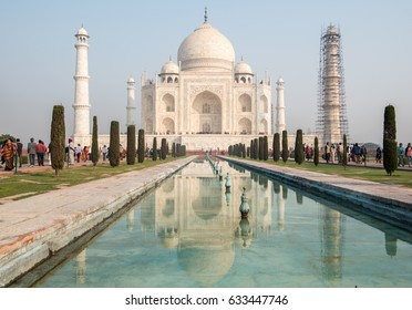AGRA, INDIA - November 19, 2016: Taj Mahal, UNESCO World Heritage Site, Agra, Uttar Pradesh, India, Southeast Asia.